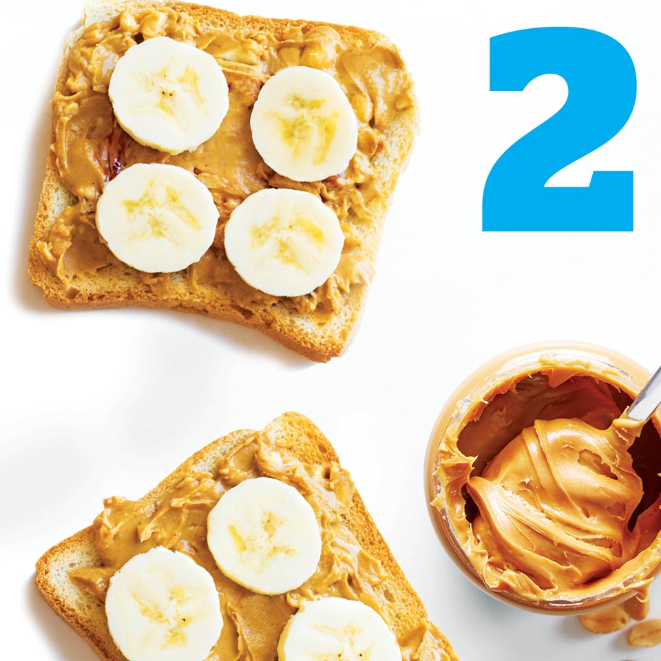 Two slices of peanut butter banana toast.