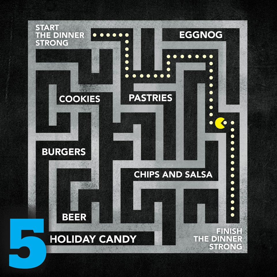 Pac-man game with common holiday foods replacing the fruit.