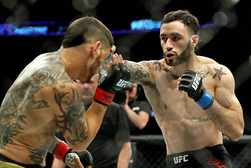 "Professional UFC fighters. Shane ""Hurricane"" Burgos (on right) punching at Cub Swanson (on left)."
