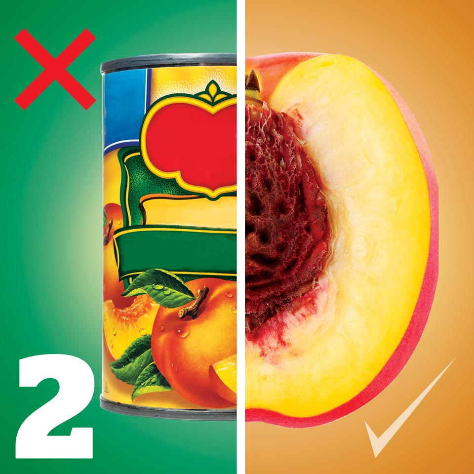 Canned fruit on the left, natural fruit on the right