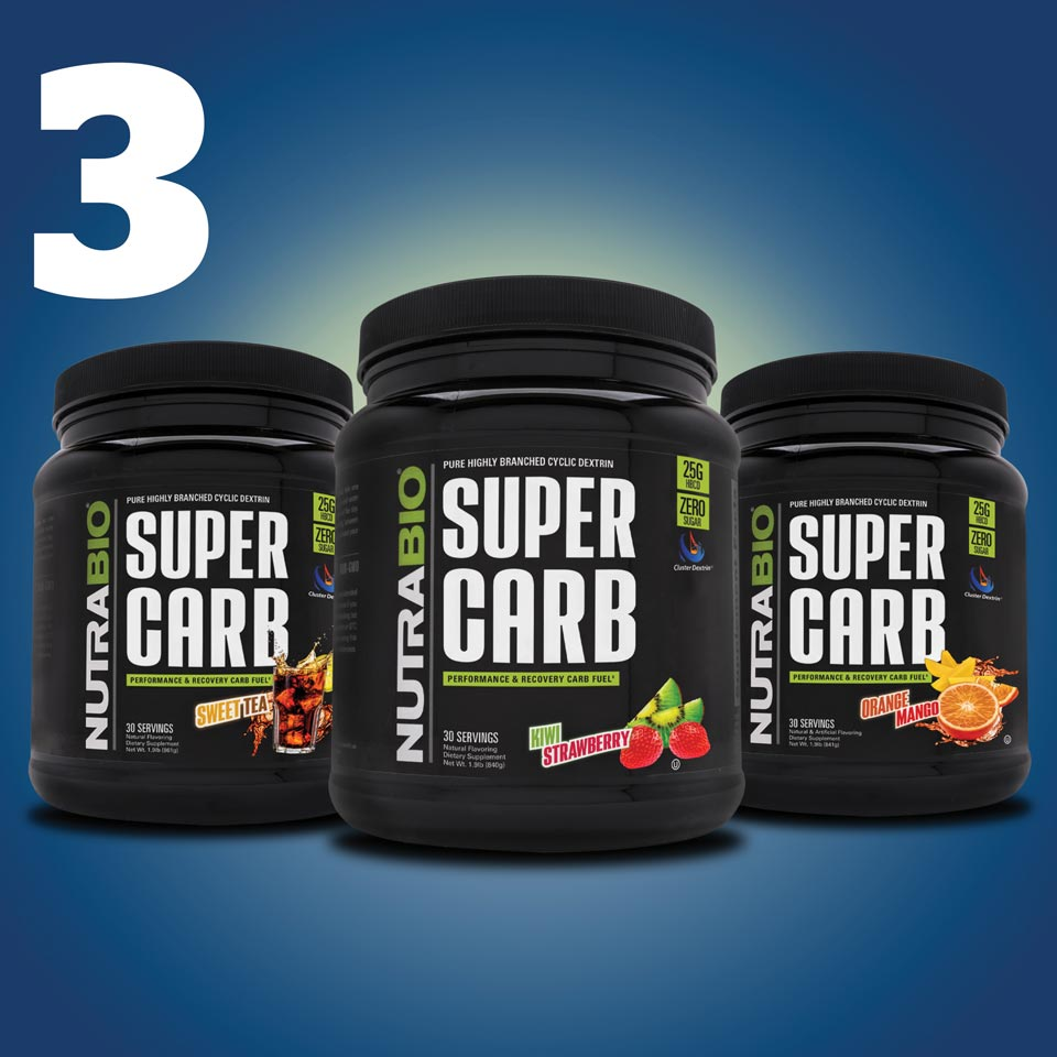 three bottles of supercarb in various flavors