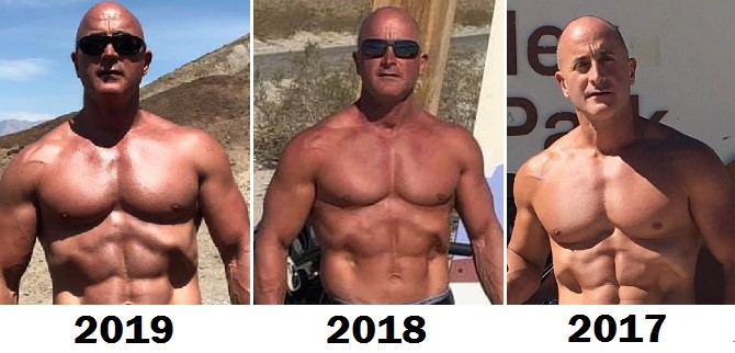 Mark Glazier's 3 year comparison photos side-by-side